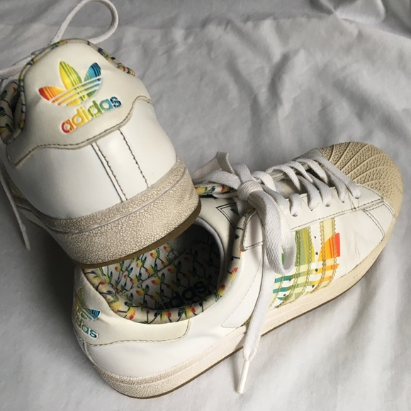 adidas Shoes - Womens 6 Adidas Rainbow Stripe Superstar Sneakers 5c9e28438